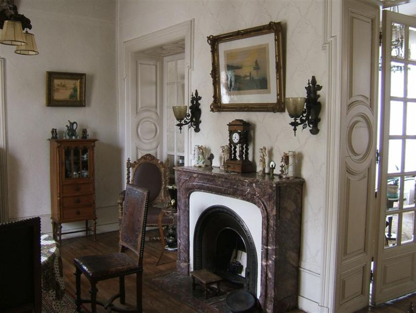 character house - dining room with fireplace, wood panneling, parquet ...